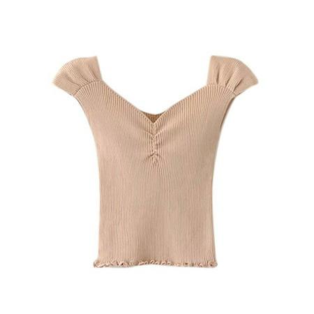 Fymall Women V-Collar Tube Wrapped Chest Slim Knitting Vest