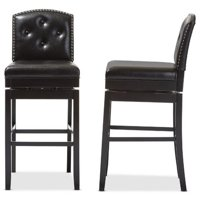 Baxton Studio Ginaro Modern and Contemporary Dark Brown Faux Leather Button-Tufted Upholstered Swivel Bar Stools, Set of 2