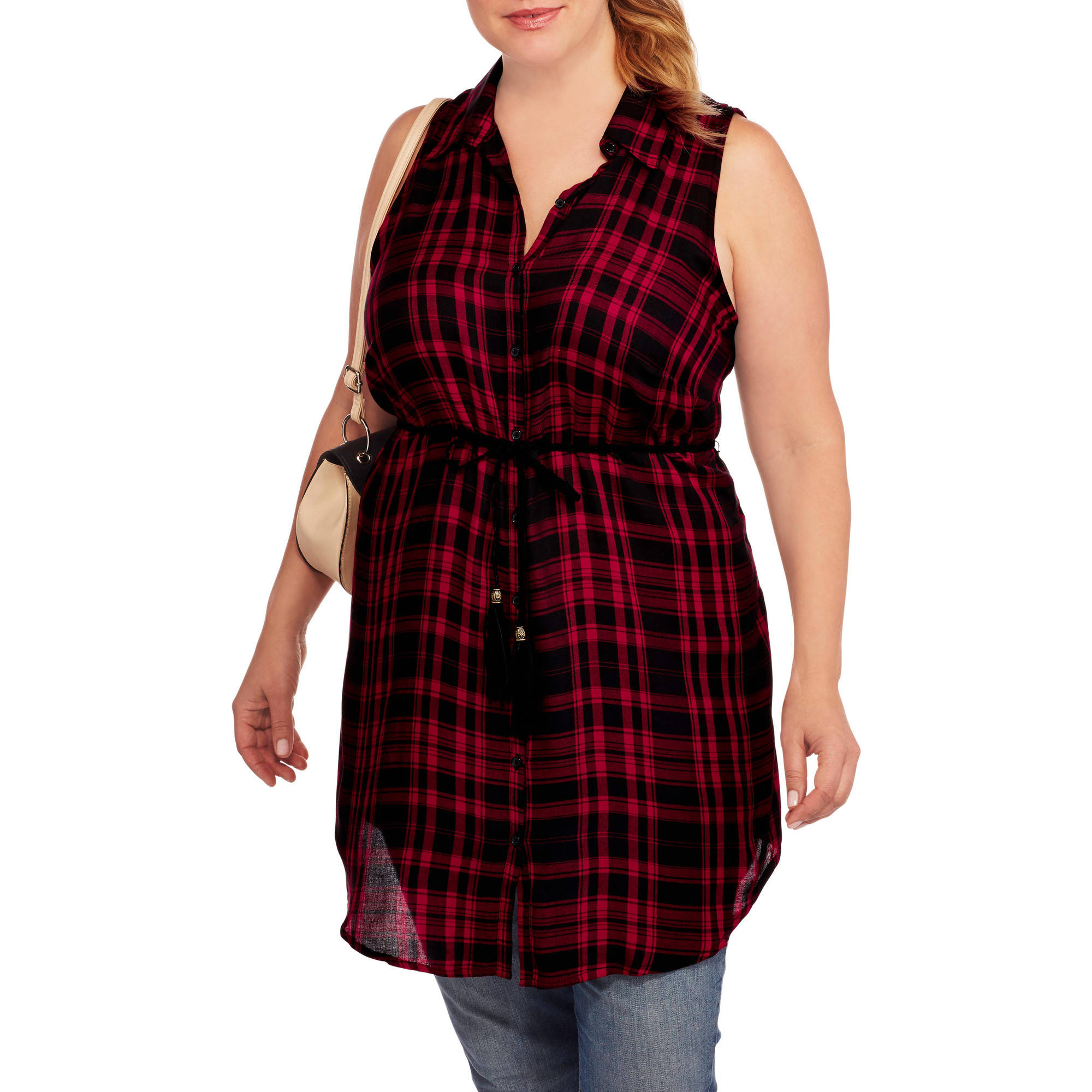 No Boundaries Women's Plus-Size Braided Belted Woven Tunic Shirt