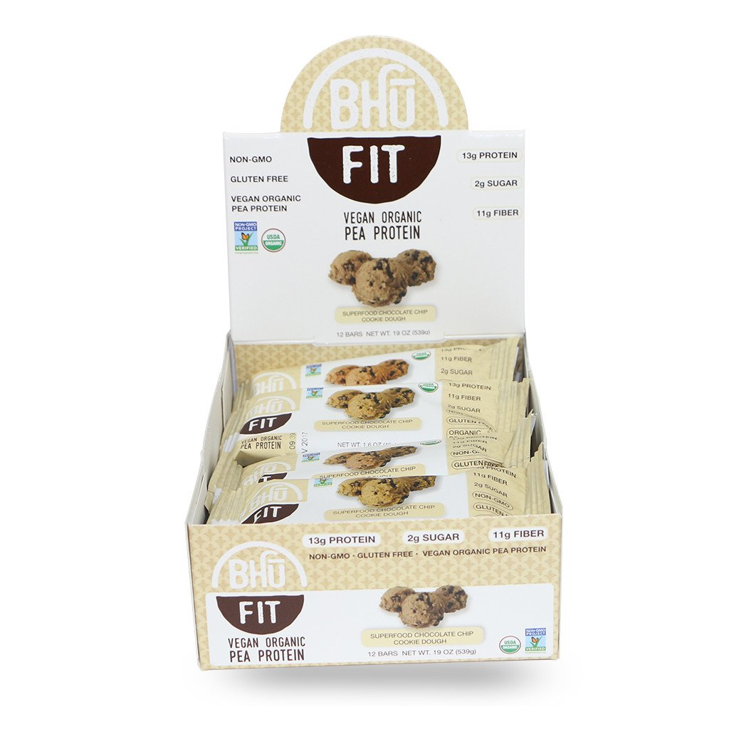 BHU Foods Fit Bar Vegan Organic Pea Protein, Chocolate Chip Cookie Dough, 12 Bar by Bhu Foods
