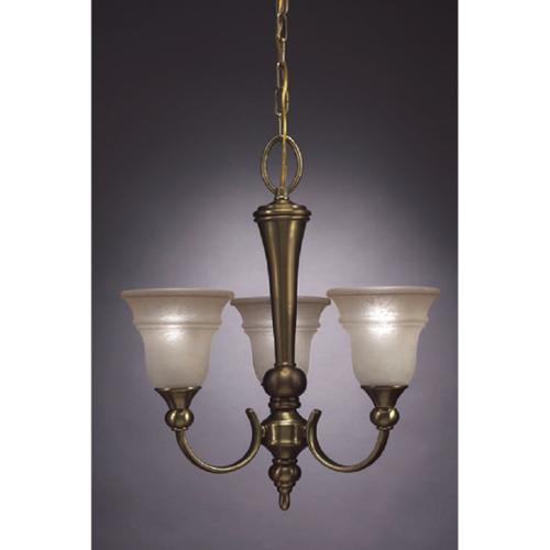 Aztec Lighting Transitional 3 light Chandelier in Antique Brass