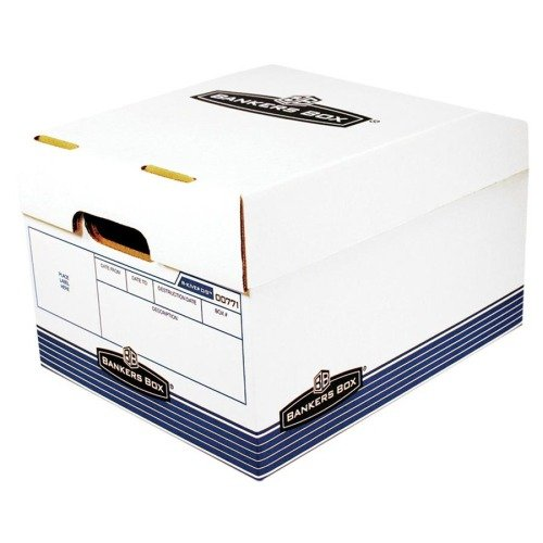 BANKERS BOX R-Kive Offsite Storage Box, Letter/Legal, Lift-off Lid, White/Blue