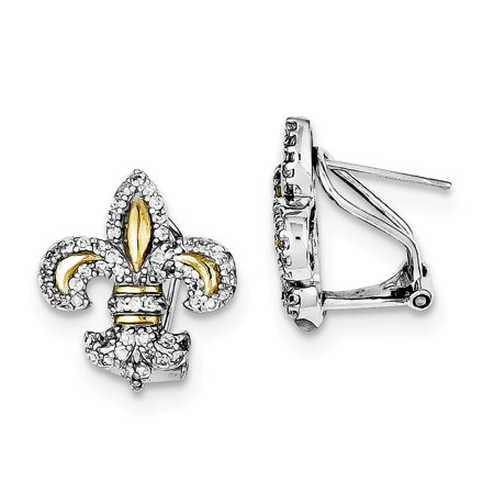 Omega Silver Jewelry Box - Roy Rose Jewelry Sterling Silver and Vermeil Fleur de Lis CZ Omega Back Earrings