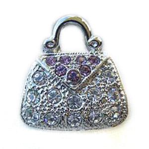 Platinum-Plated Swarovski Crystal Purse Design Brooch Pin by