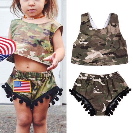 Toddler Girls Camouflage Shirt - 2Pcs Toddler Kids Baby Girl Camo Romper Tops Vest+Shorts Pants Outfits Sunsuit Summer
