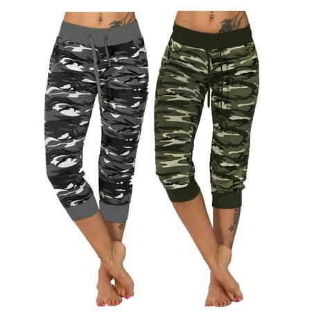 (2 Packs) Juniors' Plus Size Camo Sports Yoga Crop Jeggings High Waist Tummy Control Oversized Camouflage Pants thumbnail