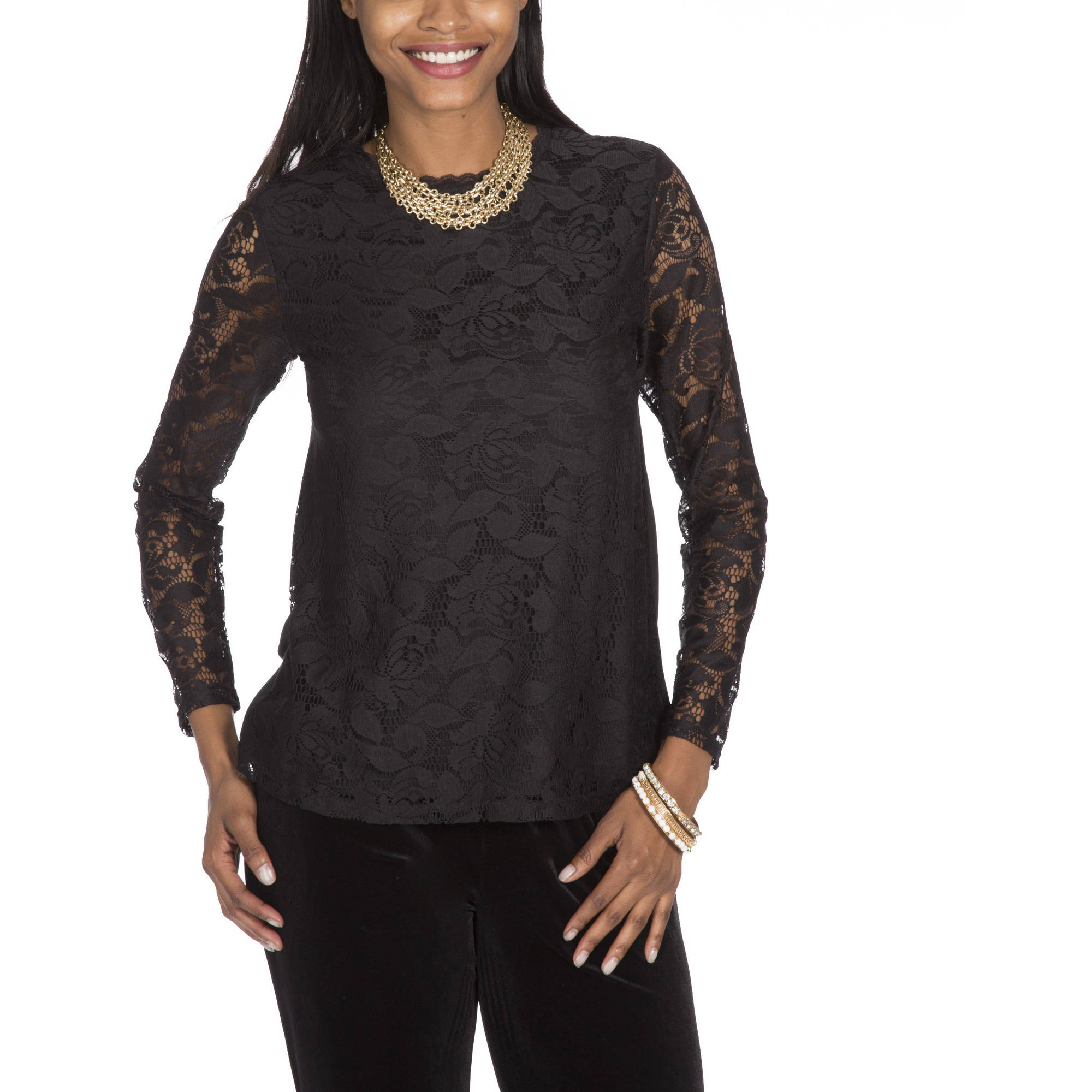 Moda Women's long sleeve lace front top