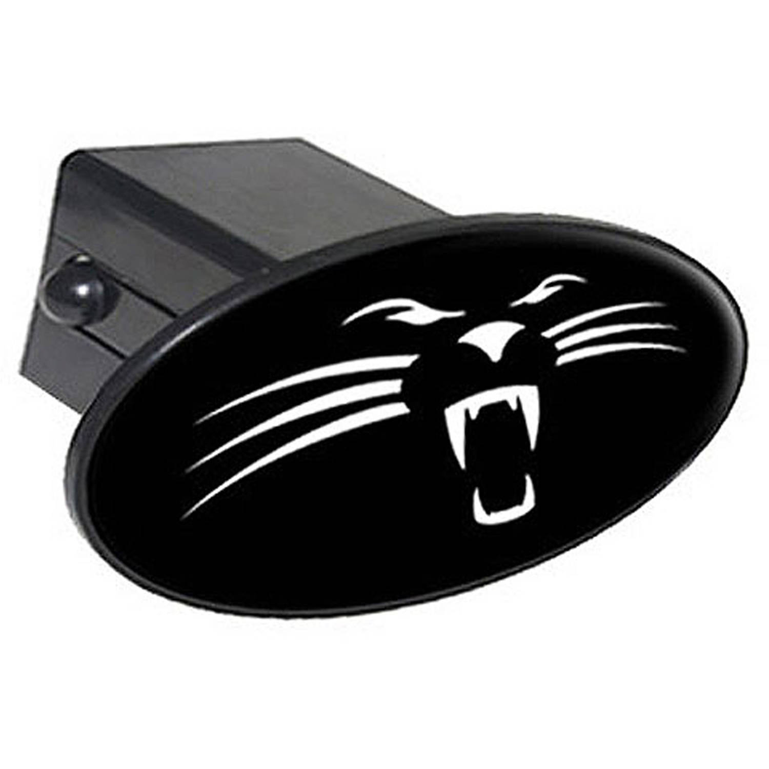 """Panther Face On Black 2"""" Oval Tow Trailer Hitch Cover Plug Insert"""