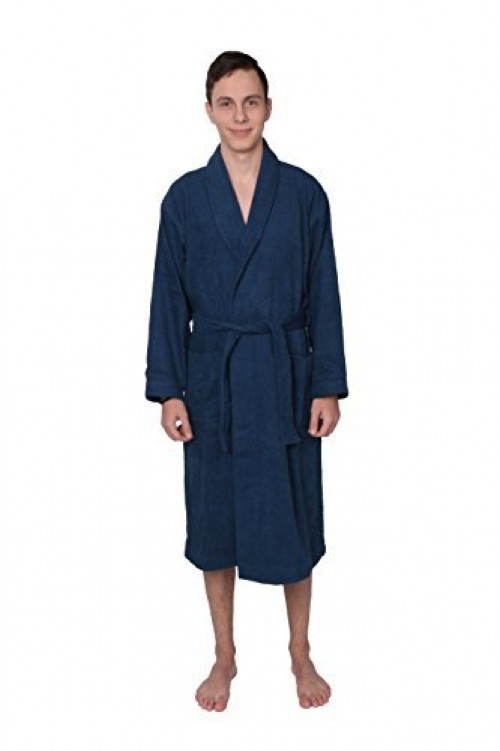 STAR Mens 100% Cotton Long Plush Terry Robe Bathrobe Spa Robe Blue (Large)