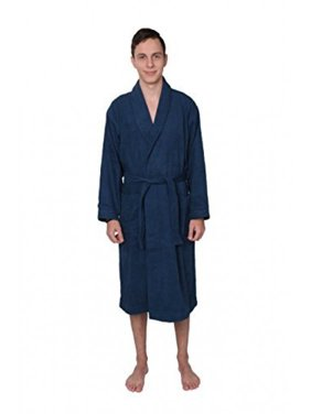 Product Image STAR Mens 100% Cotton Long Plush Terry Robe Bathrobe Spa Robe  Blue (Large) 60c42db3e