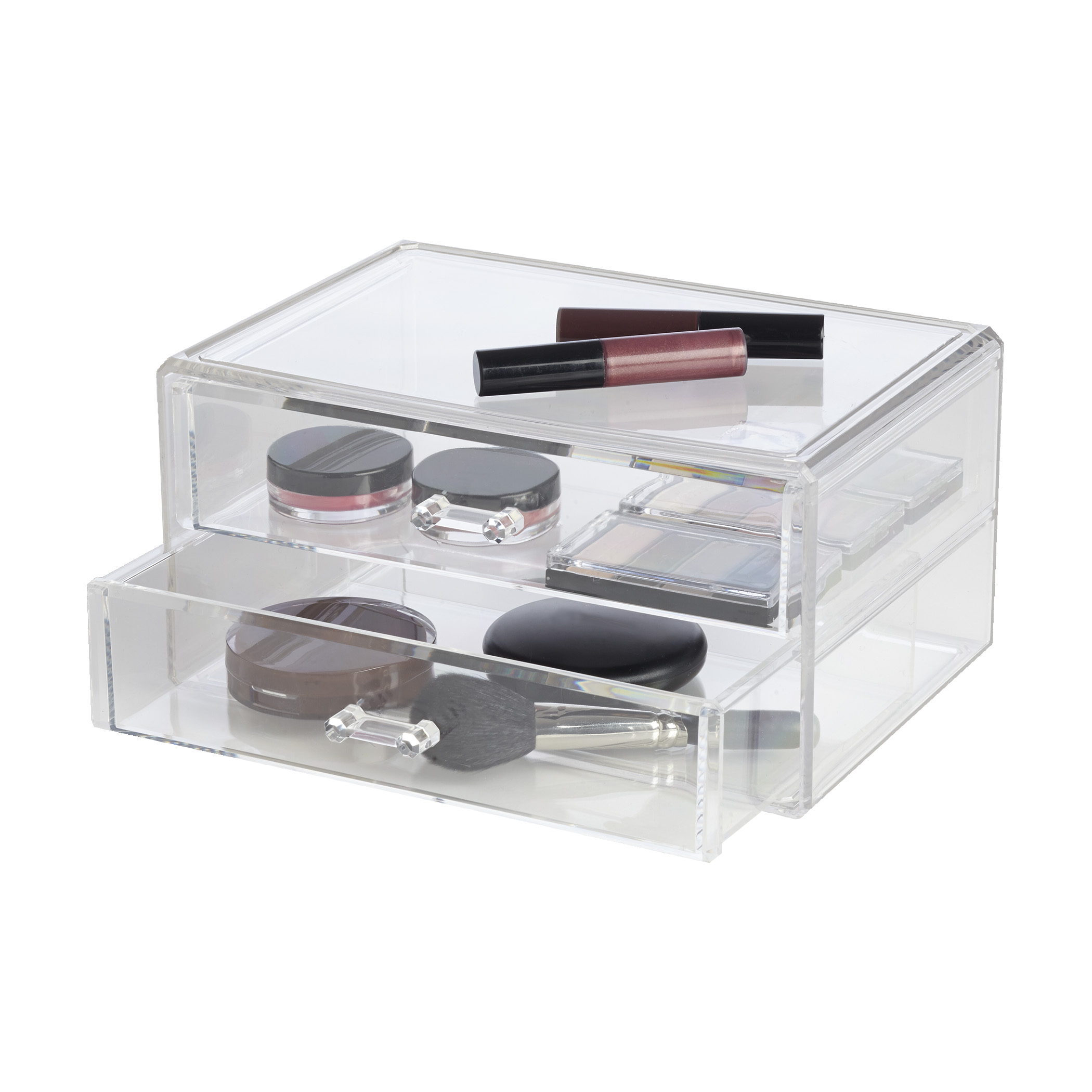 makeup organizer drawers walmart. richards homewares clearly chic 2 drawer large stackable cosmetic organizer - walmart.com makeup drawers walmart