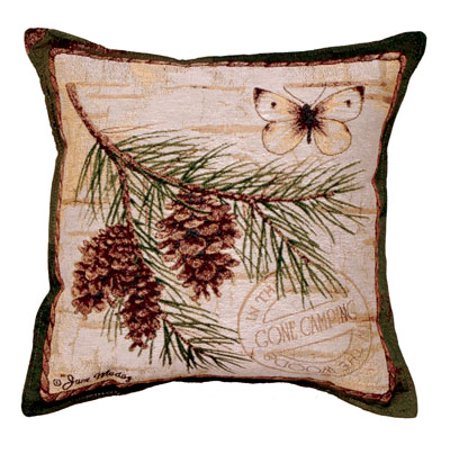 Pinecone Branch Butterfly Tapestry Toss