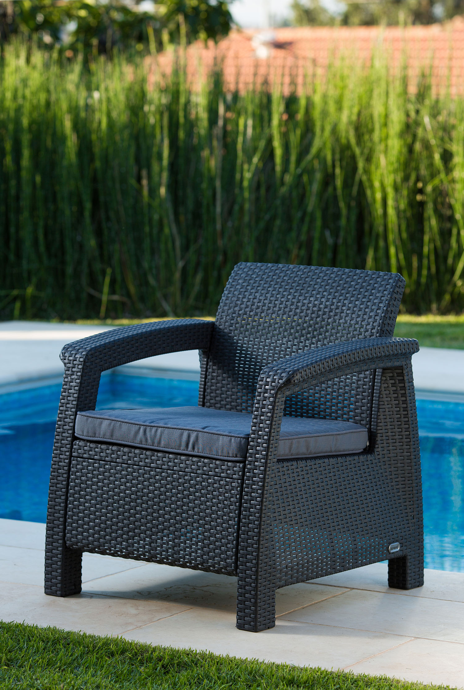 Great Keter Corfu Resin Armchair With Cushions, All Weather Plastic Patio  Furniture, Charcoal Gray Rattan   Walmart.com