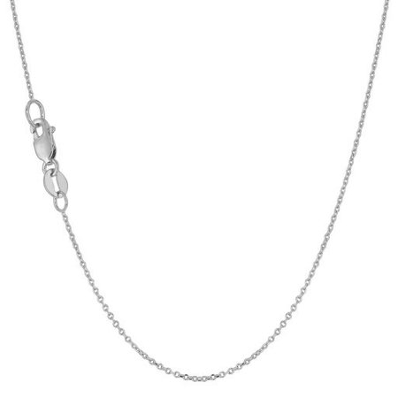 16 Toggle Rolo Necklace - 10K White Gold 0.8mm Rolo Cable Chain Necklace 16