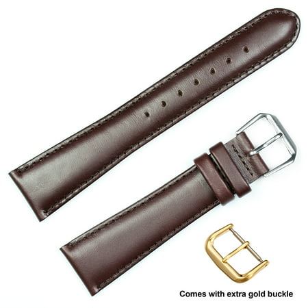 Brown Leather Band (deBeer brand Coach Leather Watch Band (Silver & Gold Buckle) - Brown 12mm )