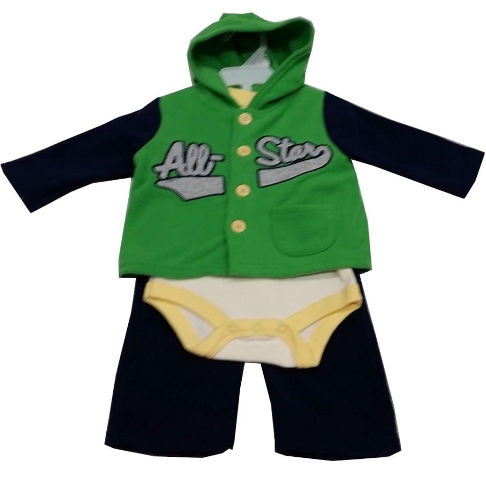 Image of Bon Bebe Baby Boys Black Green All Star Bodysuit Hooded Top 3 Pc Pant Set 3-9M