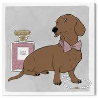 Runway Avenue Fashion and Glam Wall Art Canvas Prints 'Dachshund and fashion' Perfumes - Brown, Pink