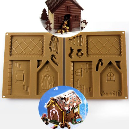Santa House Bakery Silicone Mold Christmas Gingerbread House Silicon Mold Set