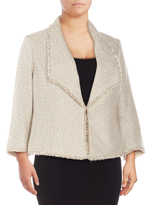 Plus Three-Quarter-Sleeve Tweed Blazer Jacket