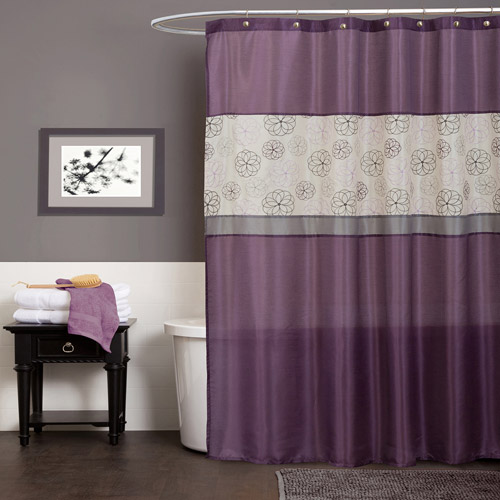 Covina Purple Shower Curtain by Triangle Home Fashions