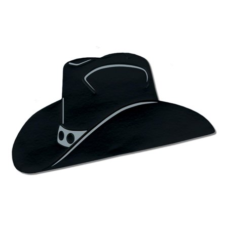 Club Pack of 12 Black and Silver Foil Country Western Cowboy Hat Silhouette Party Decorations 19