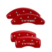 MGP 4 Caliper Covers Engraved Front & Rear Acura Red finish silver ch