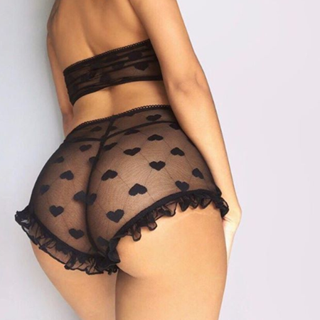 2Pcs Women's Sexy Satin Lace Sleepwear Babydoll Lingerie Nightdress Pajamas Set Black S