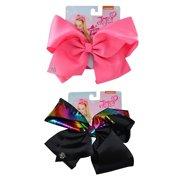 JoJo Siwa Pretty Pink Bow & Black Bow w/ Metallic Rainbow Hair Clip 2 Piece Set