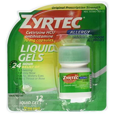 Zyrtec Allergy 10mg Prescription Stregnth 24 Hour Relief 12 Liquid Gels