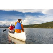 Senior Couple Canoeing In Wonder Lake Denali National Park And PreserveAlaska United States Of America PosterPrint by