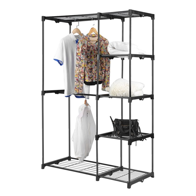 Clothes Rack Double Rod Closet Wardrobe Free Standing Garment Rack Clothe Storage Organizer