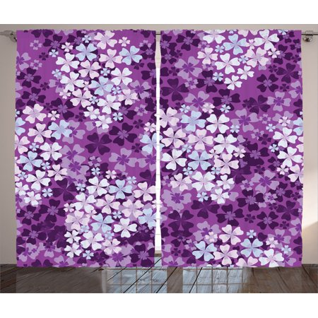 House Decor Curtains 2 Panels Set, Lilacs Illustration Greenery Field Backyard Freshness Hydrangea Artistic Design, Living Room Bedroom Accessories, Gift Ideas, By Ambesonne ()