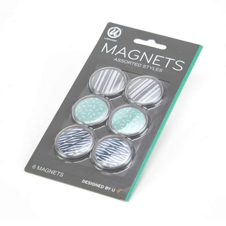 U Brands Round Magnets, Assorted Fashion Prints, 6 - Print Magnets