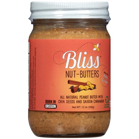 Bliss® Nut-Butters All Natural Peanut Butter with Chia Seeds and Saigon Cinnamon 12 oz. Jar