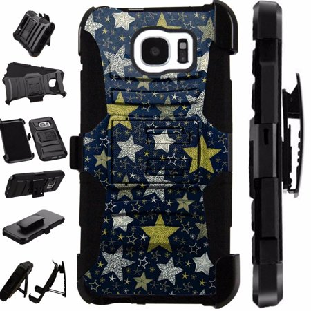 For Samsung Galaxy S7 Case / Galaxy S 7 Case Heavy Duty Hybrid Armor Dual Layer Cover Kick Stand Rugged LuxGuard Holster (Night Stars)