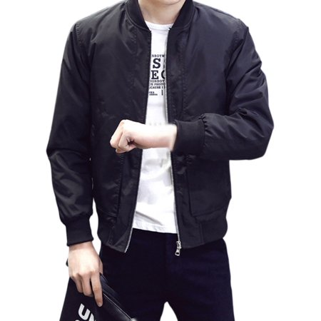 Mens Casual Warm Winter Bomber Zipper Baseball Jacket Coat Slim Fit