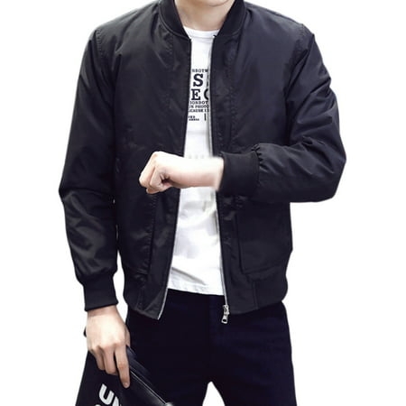 Mens Casual Warm Winter Bomber Zipper Baseball Jacket Coat Slim Fit - Deluxe Bomber Jacket