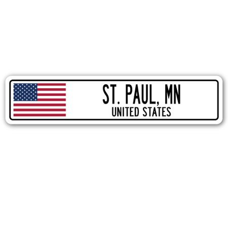 ST. PAUL, MN, UNITED STATES Street Sign American flag city country   gift (Party City St Paul Mn)