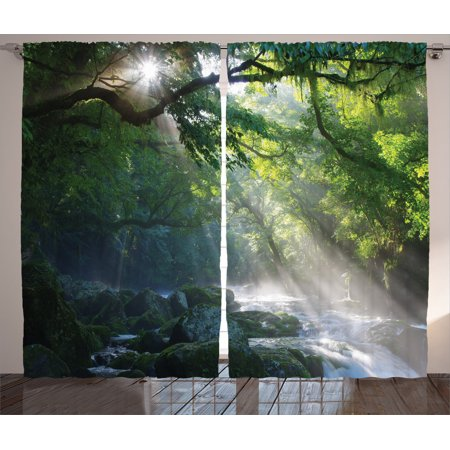 Rainforest Decorations Curtains 2 Panels Set, Stream In The Jungle Stones Under Shadows Of Trees Sunlight Mother Earth Theme, Living Room Bedroom Accessories, By Ambesonne