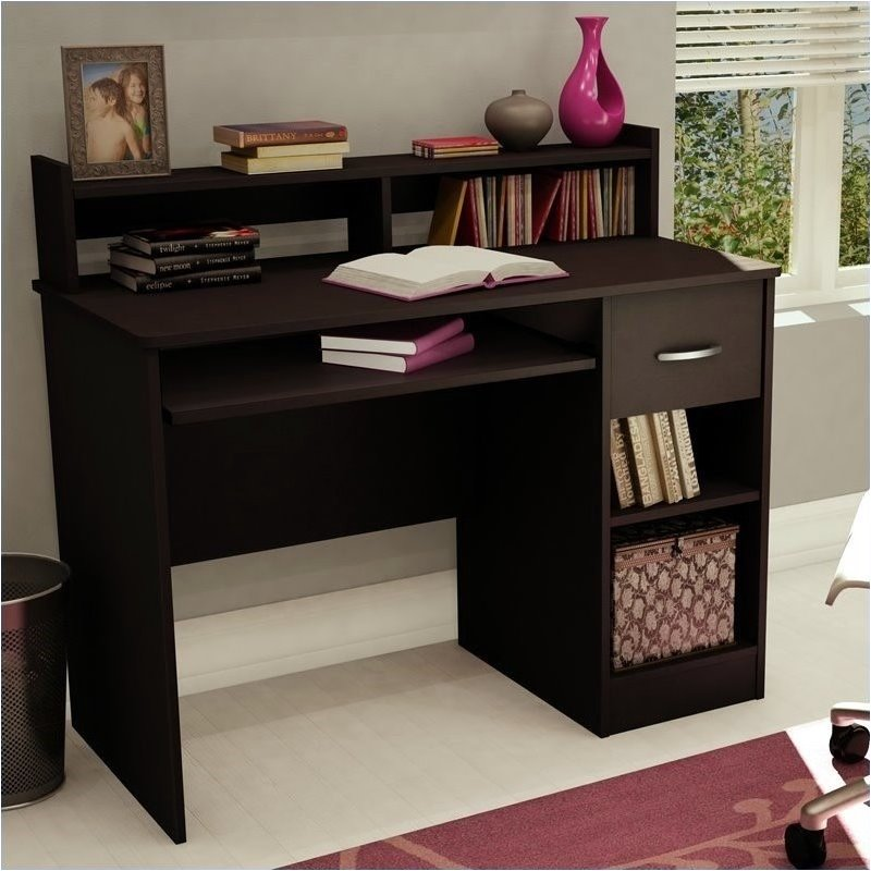 Pemberly Row Small Wood Computer Desk with Hutch in Chocolate