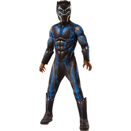 Marvel Black Panther Child Blue Battle Suit Deluxe Halloween Costume - Biker Couple Halloween Costume Ideas