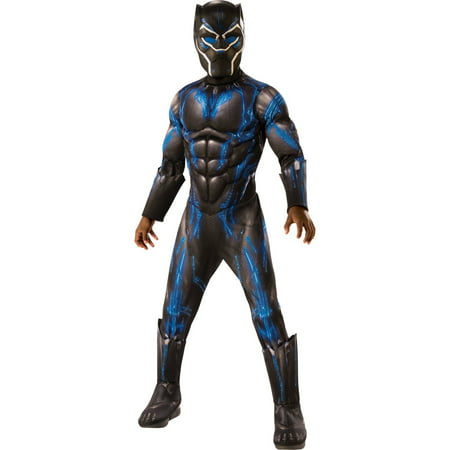 Marvel Black Panther Movie Boys Deluxe Black Panther Battle Suit Costume - Zapp Brannigan Costume
