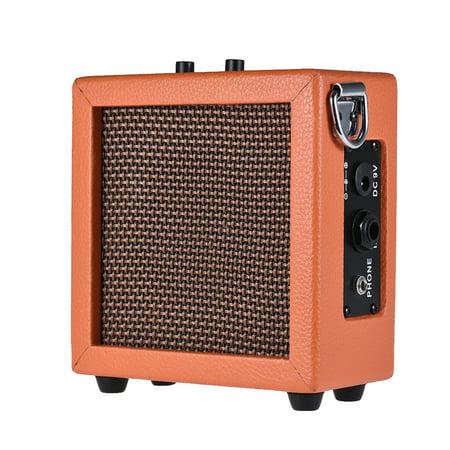 Battery Powered Mini Guitar Bass Ukulele Ukelele Amp Amplifier Speaker High-Sensitivity 3 Watt 9-Volt with Volume Tone (Best Bass Guitar Amp Heads)