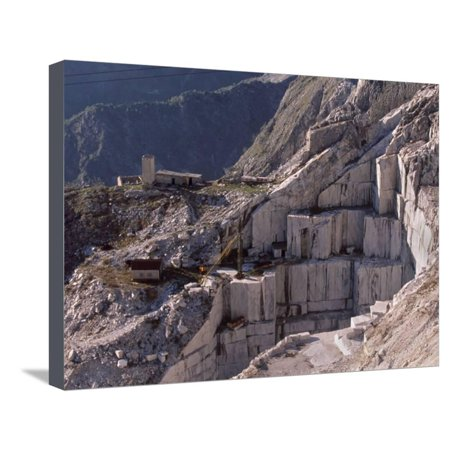 Carrara Marble Quarry Near Antona in Apuane Alps, Tuscany, Italy, Europe Stretched Canvas Print Wall Art By Patrick Dieudonne