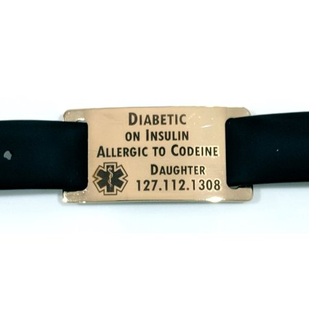 Custom Ink Bracelets (Premium Medical Alert Diabetes Diabetic Bracelet with Gold Tag - Free Dark Laser Engraving Custom)