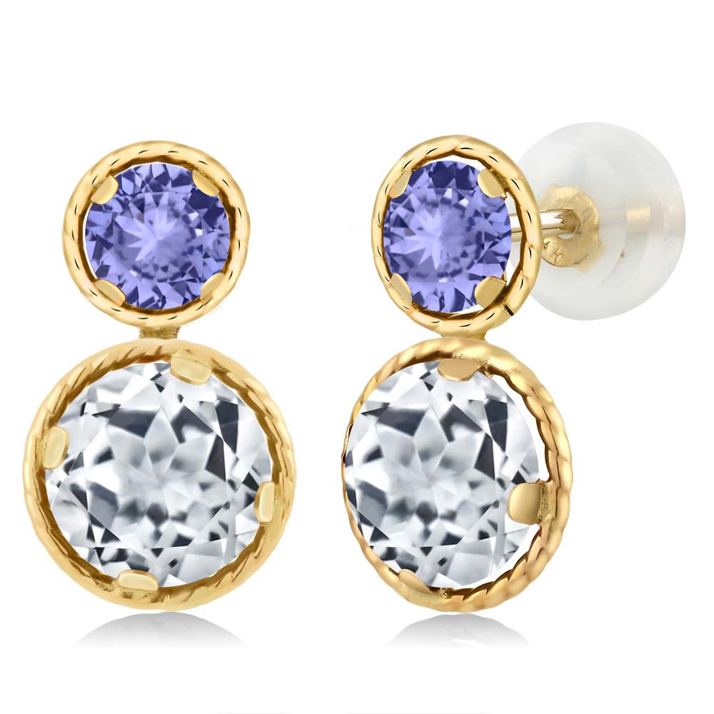 2.60 Ct Round White Topaz Blue Tanzanite 14K Yellow Gold Earrings