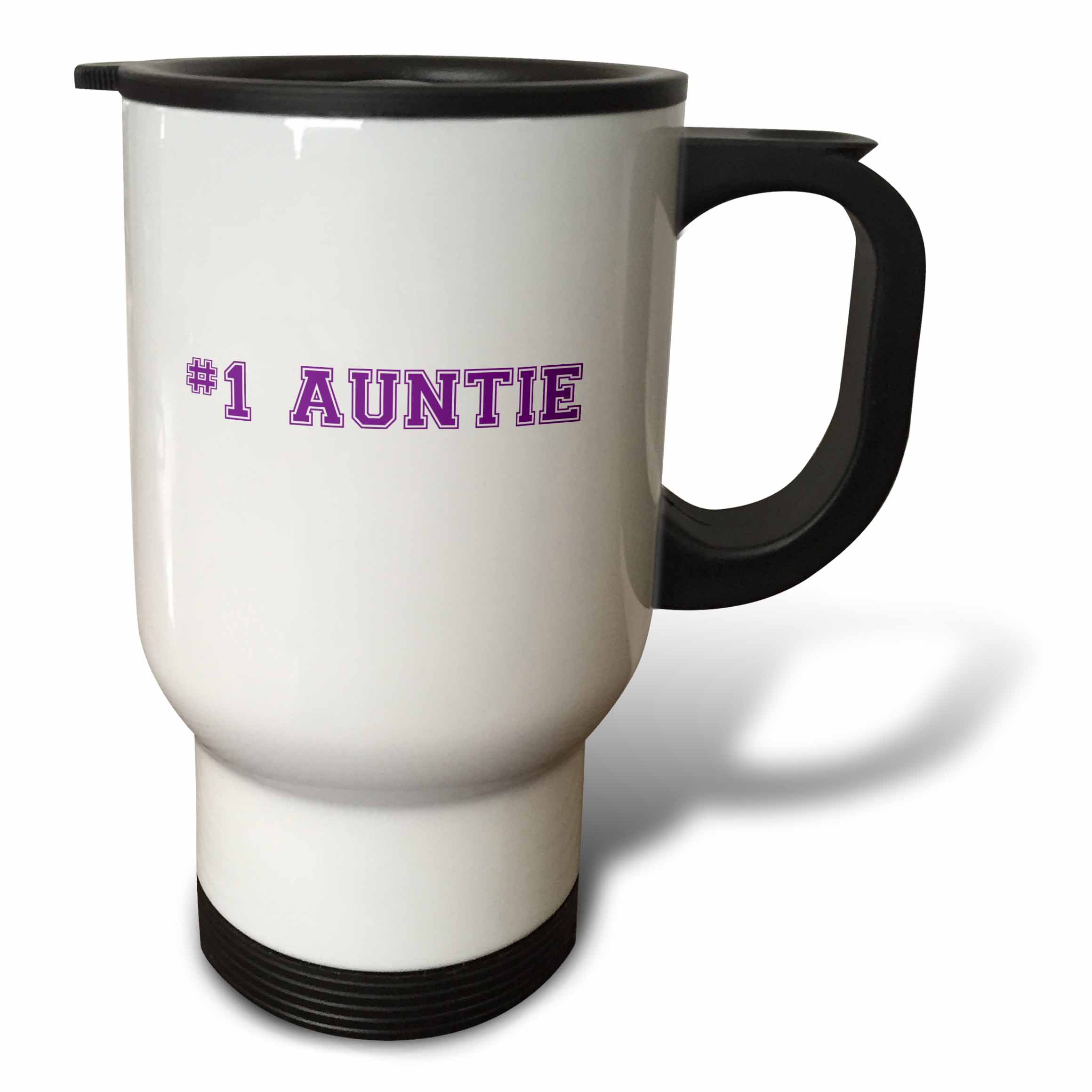 3dRose #1 Auntie - Number One Aunt - purple text - best honorary aunt - Family and Relatives gifts, Travel Mug, 14oz, Stainless Steel