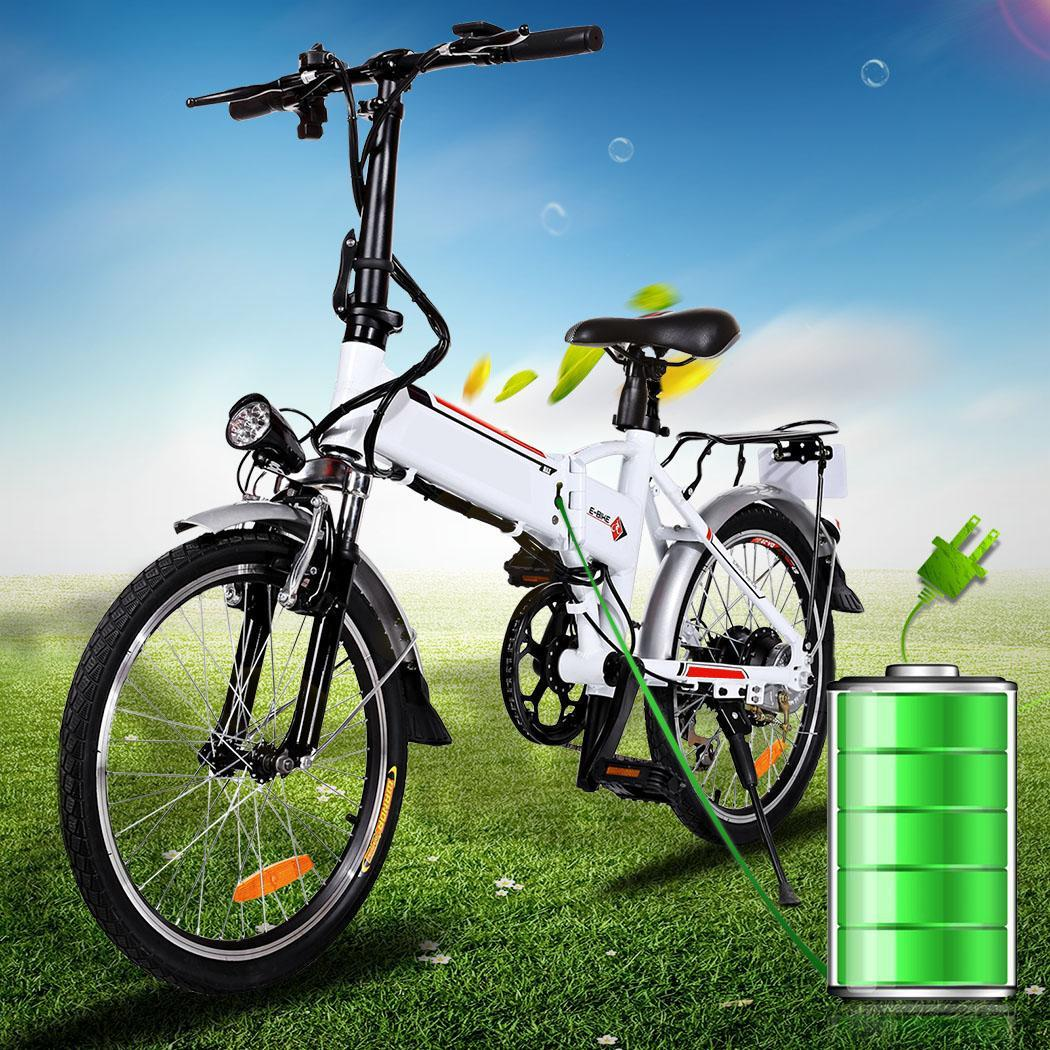 Power Plus Electric Bicycle Folding Electric Mountain Bike with Battery White