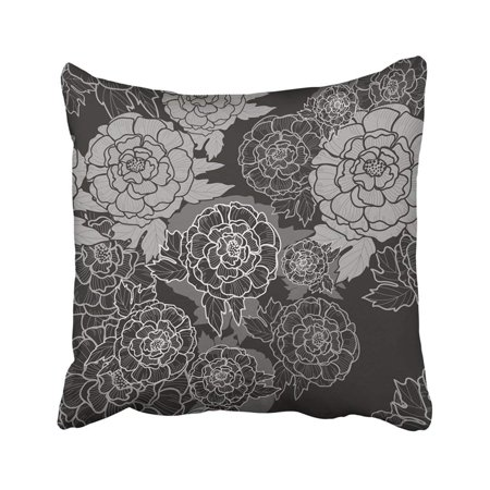 BPBOP Flower Peonies Peony Black And White Pattern Design All Over Blossom Boho Bouquet Chinese Pillowcase Pillow Cover 18x18 (China Summer Bouquet)