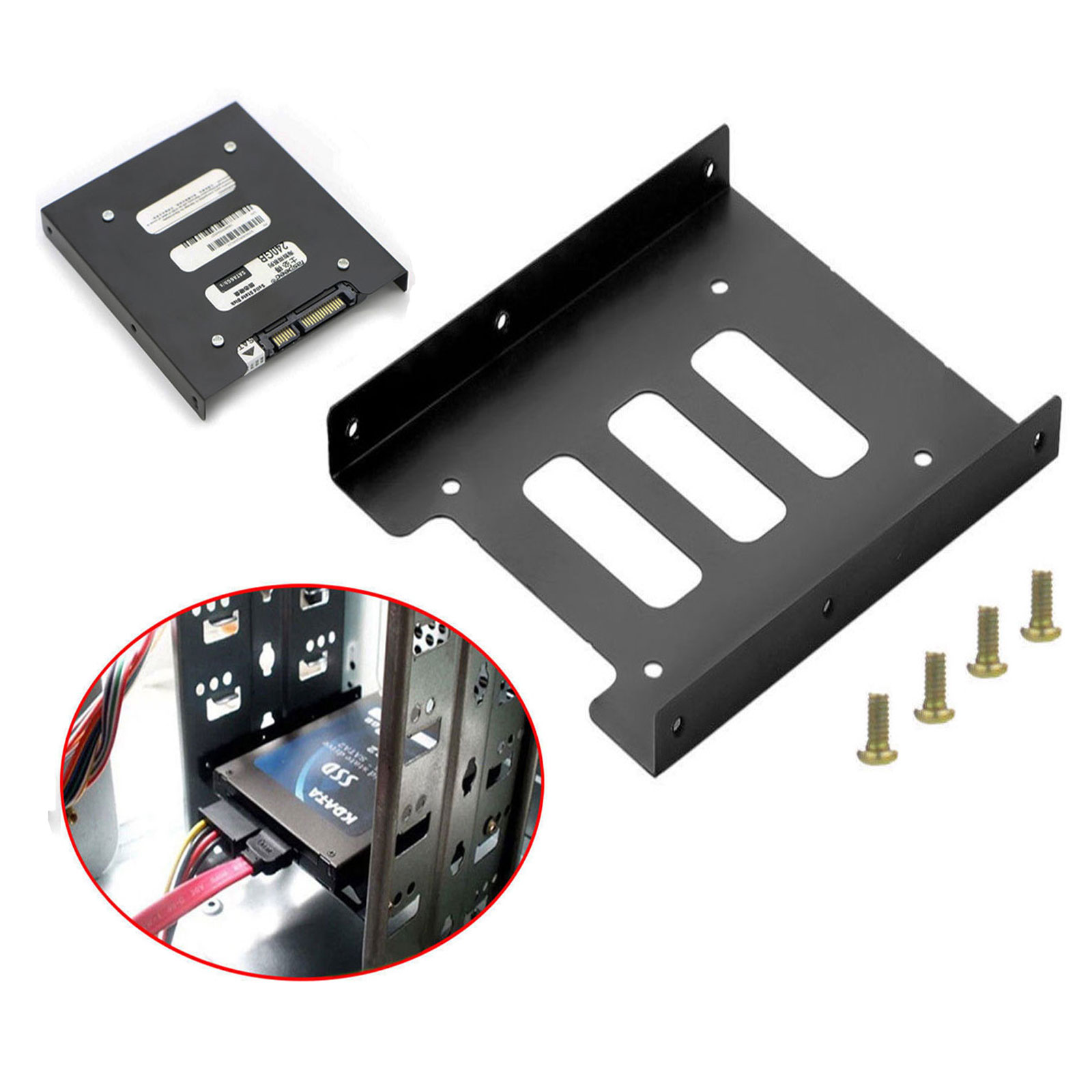 "2.5/"" SSD HDD to 3.5/"" Mounting Adapter Bracket Tray Dock for PC SSD Holder ATX"